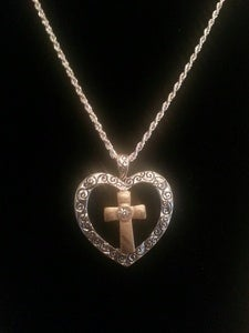 Image of Cross with Heart Multi-toned Necklace