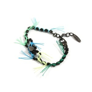 Image of Let Them Eat Cake Crystal &amp; Spike BFF Bracelet W/Blue Combo Threads - Jet/Blue Combo