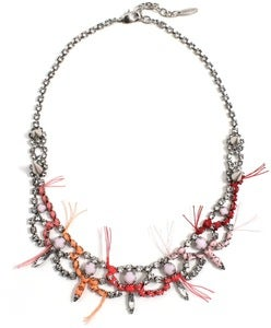 Image of Let Them Eat Cake Crystal Necklace W/Pink Combo Thread Details - Crystal/Pink Combo