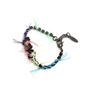 Image of Let Them Eat Cake Crystal &amp; Spike BFF Bracelet W/Multi Bright Threads - Jet/Multi Bright 