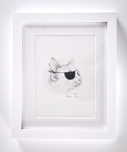 Image of FRAMED PIRATE CAT A5 PRINT.