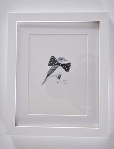 Image of FRAMED BIRD WITH BIG BOW TIE A5 PRINT.