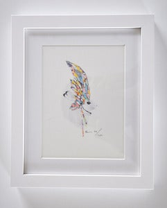Image of FRAMED RABBIT WITH FEATHERS NO.2 A5 PRINT