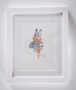 Image of FRAMED RABBIT WITH FEATHERS NO.1 A5 PRINT.