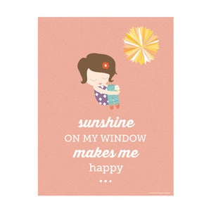 Image of Sunshine on my Window Art Print (for girls)