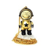 Image of Ron English Chris Brown Astronaut Skull Star Necklace Gold Dum English