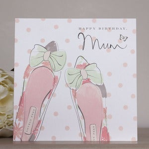 Image of 'Mum' Birthday Shoes Hand Embellished Card