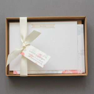 Image of Set Of 10 Vintage Style Floral Boxed Notelets