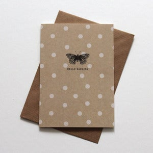 Image of Miniature Vintage - 'Hello Darling' Butterfly Notecard