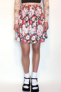 Image of floral cotton gathered mini skirt