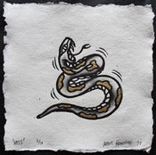 Image of 'Hiss' - Hand Coloured Lino Print with 24ct Gold Leaf Detail