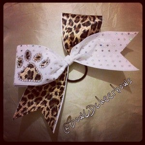 Image of The Paw Bow in Leopard and White