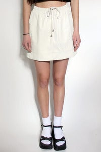 Image of PU leather drawstring ruched mini skirt