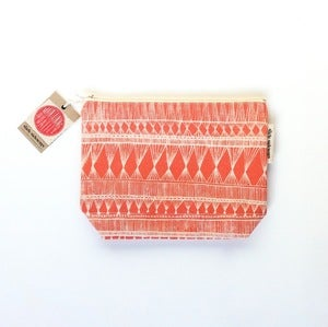 Image of Medium Coral Orange Zippered Pouch