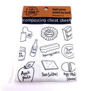 Image of Composting Cheat Sheet Tea Towel