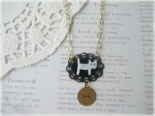 Image of MOP Cat on Black Frame Necklace