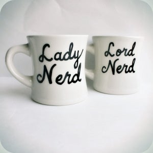 Image of Nerd Coffee Mug Tea Cup Diner Set Lord Lady His Hers black white hand painted