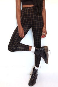 Image of high waisted checked green leggings with pockets