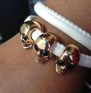 Image of White Triple Skull Vegan Leather Bracelet