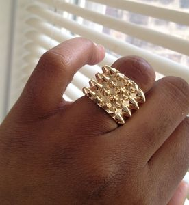 Image of Studded Gold Ring - Size 7