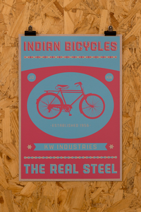 Image of Indian Bicycle Shop 'The Real Steel' print Blue/Red