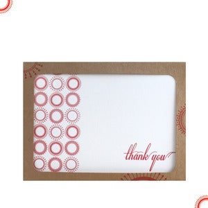 Image of thank you note letterpress card set