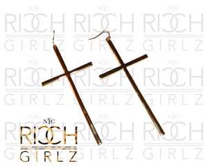 Image of Metal cross earring