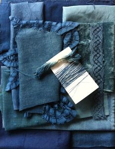 Image of indigo dyed vintage fabric collection