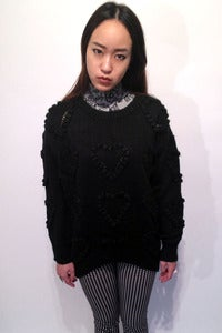 Image of knitted pom pom hearts textured jumper