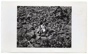 Image of THREE PEOPLE AMONGST A SEA OF ROCKS VINTAGE SNAPSHOT PHOTO