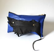 Image of Electric Blue and Black Leather Wrist Clutch