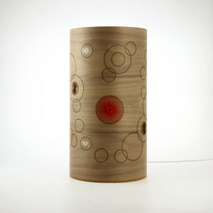 Image of Walnut freestanding lamp. Random Circles