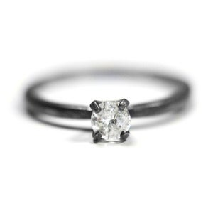Image of Custom 1/2 carat Diamond Soliatire - Unique Engagement Ring in Oxidized Sterling Silver