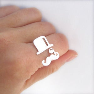 Mr.mustache with tophat silver ring.