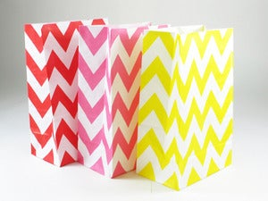 Image of Colourful Chevron Gusset Paper Bags