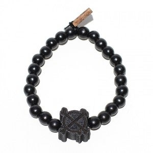 Image of IN4MATION X GOODWOOD NYC CROSSBONES BRACELET (BLK)