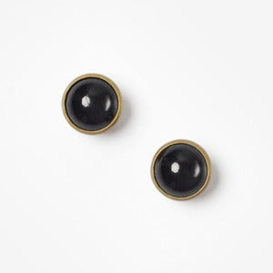 Image of Black Vintage Glass Dome Earrings