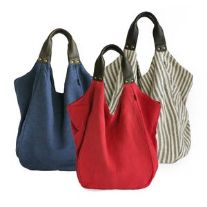Image of HAVA Bag in Plain or Striped Cotton with Leather Handles
