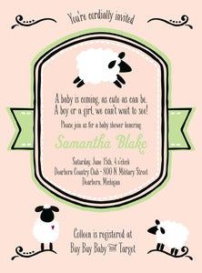 Image of Sheep/Lamb themed Baby Announcement