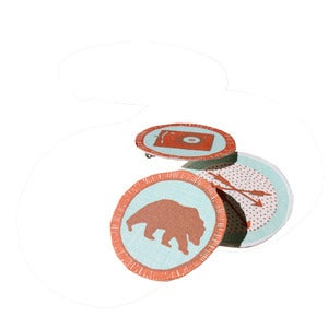 Image of merit badges - illustrated + letterpress