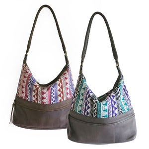Image of MENKU Handbag in Jacquard/Leather