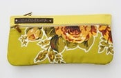 Image of double zip clutch in chartreuse with vintage floral appliques (b)