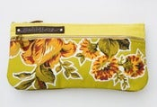 Image of double zip clutch in chartreuse with vintage floral appliques (c)