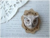 Image of Ceramic Owl with Wooden Frame Brooch