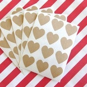 Image of Mini Kraft Heart Stickers - Set of 60