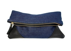 Image of Leather and denim fold clutch