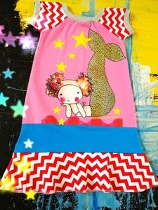 Image of Chimi mermaid love. dress on pink