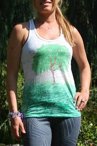 Image of dancing tree - burnout racerback tank ombre green/white