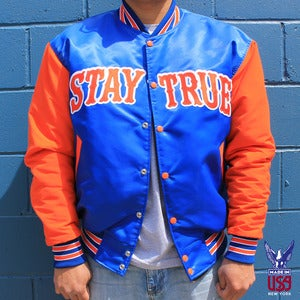 Image of Stay True Varsity Jacket (satin)