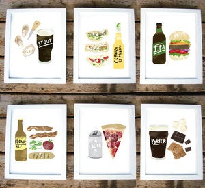 Image of Beer-Food Prints by Redcruiser (set of 6)